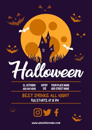 creative halloween party poster flyer social media post template design