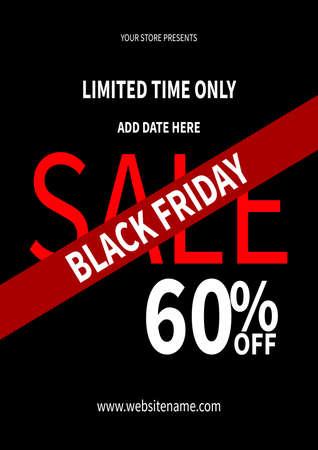 black friday big sale flyer poster social media post template design Иллюстрация