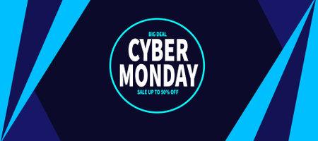 cyber monday sale web banner social media post template design Иллюстрация