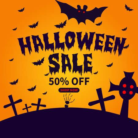 halloween sale social media post template design Иллюстрация