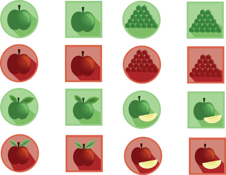 green apple slice: Green and red apple icon set Illustration