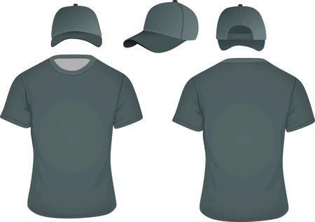584217d09933 Camisa Negra Y Gorra De Béisbol Ilustraciones Vectoriales, Clip Art ...