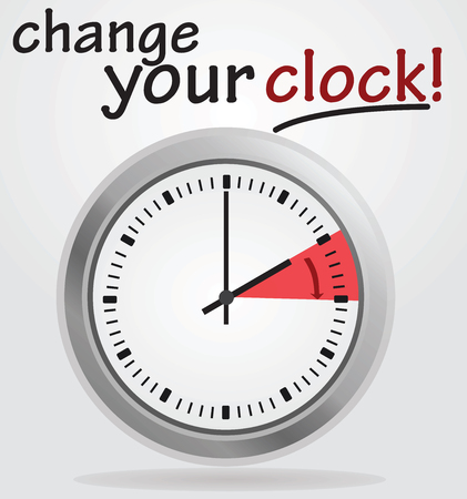 Change your clock notice. Vector illustration. Illustration