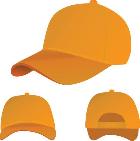 Orange baseball cap illustration. Illustration