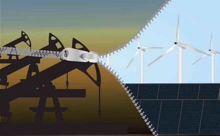 environmental contamination: Change to renewable energy eco-concept