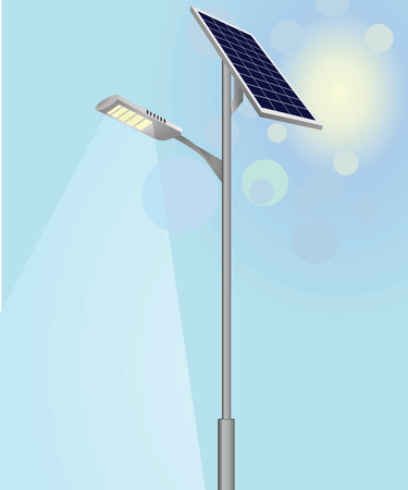Street light with solar panels vector