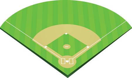 棒球场矢量插图。