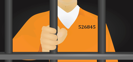 Prisoner in orange uniform vector