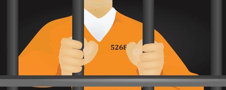 detention: Prisoner in orange uniform vector