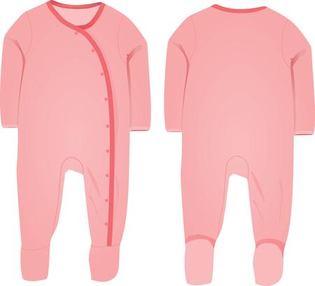 romper: Baby girl sleep suit vector Illustration