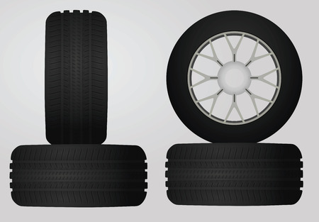 snow tires: Tires set,  vector illustration