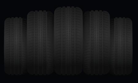 heap: Tires set on dark background, vector illustration