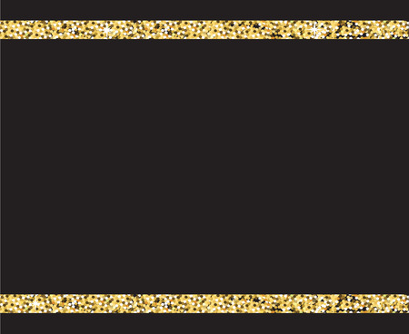 Black background with gold glitter stars, vector