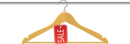 Wooden hanger with sale tag