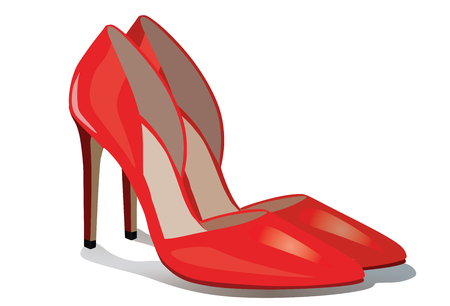 Pair of red high heel shoes