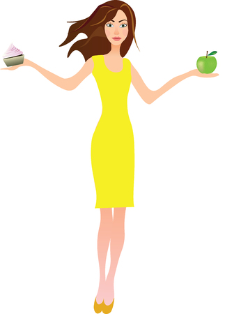 Girl holding apple in one hand and cake in another, healthy food concept
