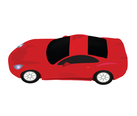 Red sports car view from above