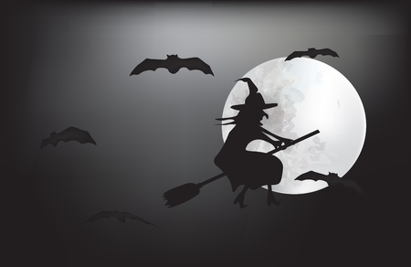 Witch flying on a broom on a full moon Illustration