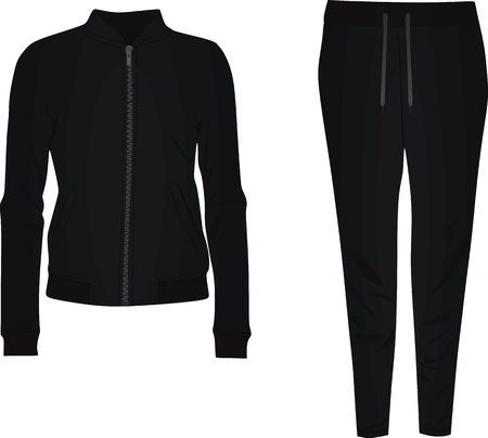 Schwarzer Trainingsanzug. Vektor-Illustration