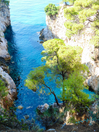 Cape Amarantos on Skopelos island with beautiful turquoise wather