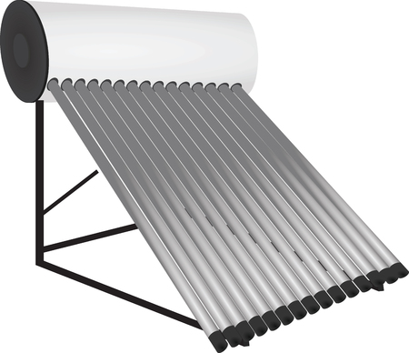Zonneboilers verwarming. vectorillustratie