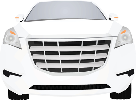 White car, front view.