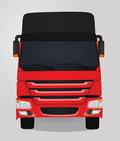 Red truck. front view. vector illustration