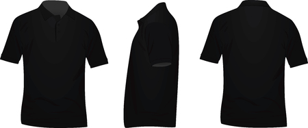 Black t shirt. front, back and side view