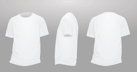 Classic white t shirt, front, back and side view 向量圖像