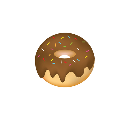Chocolate donut with sprinkles vector Illustration