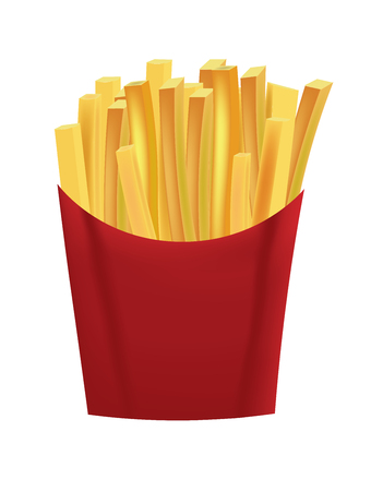French fries in box vector illustration Illustration