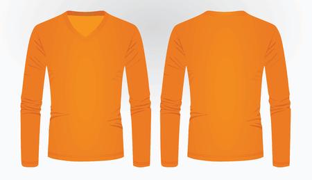 Orange long sleeve t shirt. vector illustration