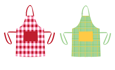 Two aprons with kitchen patterns