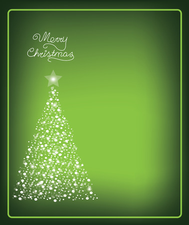 Christmas card with christmas tree made from snow, vector Illustration