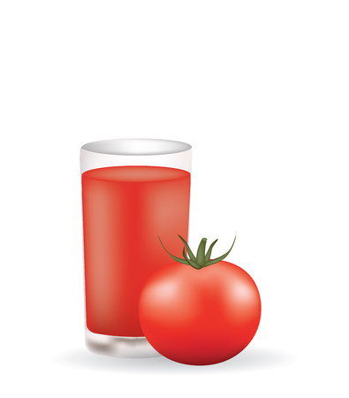 Tomato juice with a whole tomato, vector