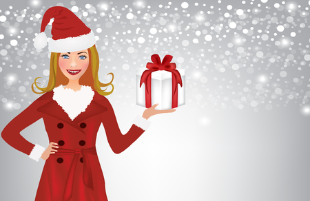Christmas woman holding present on blured backround, vector Illustration