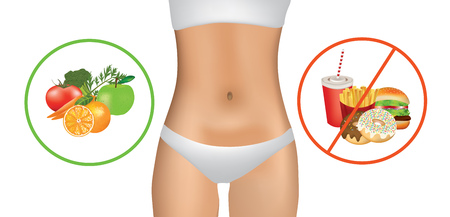 Woman body with healthy and unhealthy food.