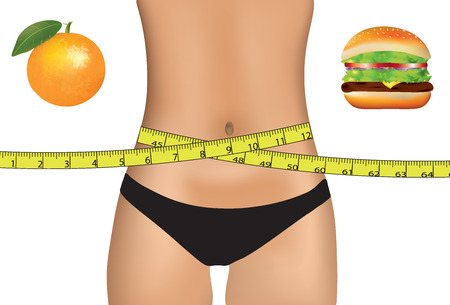 Woman belly with measuring tape and food choice vector