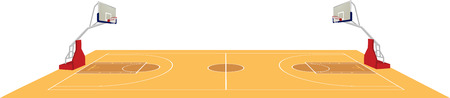 Basketball field in colored illustration. Stock Illustratie