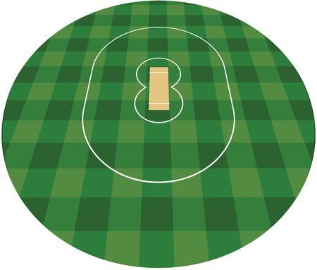Cricket field vector illustration.