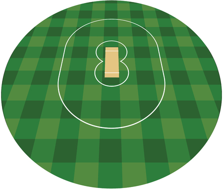 Cricket field vector illustration.