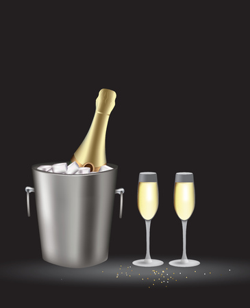 Champagne bottle in bucket with two glasses, vector Vectores