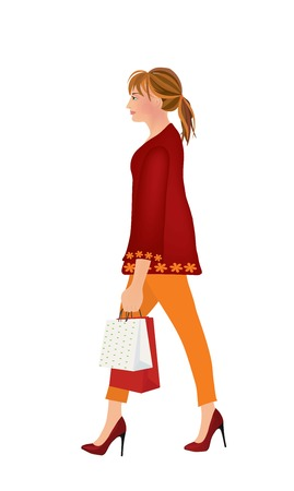 Woman walking and holding shopping bags. vector illustration