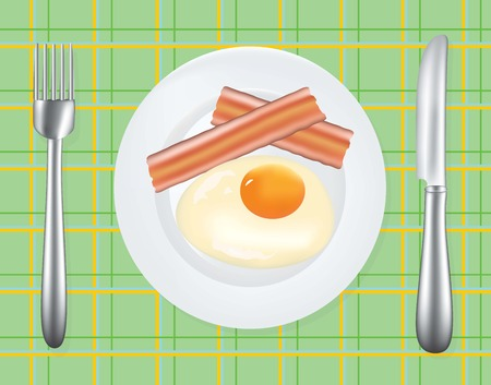 Breakfast plate with egg and bacon, vector