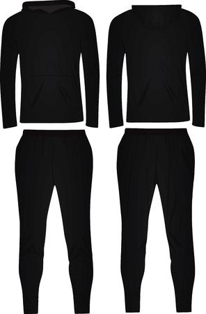 Schwarzer Trainingsanzug mit Kapuze. Vektorabbildung auf weißem Hintergrund.