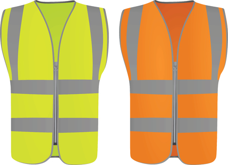 Safety vest. Vector illustration on white background. Vettoriali
