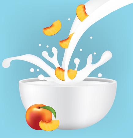 Peach slice in milk splash, vector