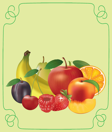 Set of fruits on decorative background, vector
