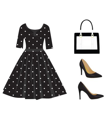 Woman black outfit set, dress, handbag and shoes, Vector illustration.