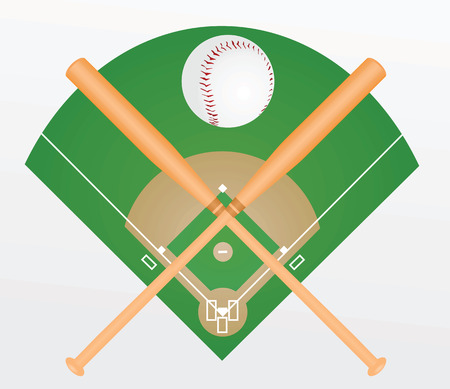 棒球和球棒。矢量图